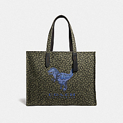COACH 75593 - TOTE 42 WITH REXY BY ZHU JINGYI ARMY GREEN/BLACK COPPER