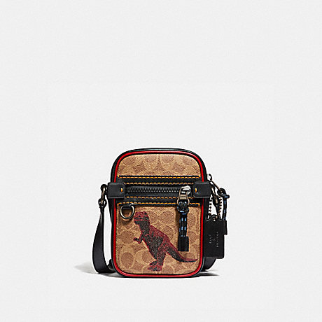 COACH 75595 DYLAN 10 IN SIGNATURE CANVAS WITH REXY BY SUI JIANGUO KHAKI/BLACK-COPPER