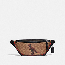 COACH 75596 - RIVINGTON BELT BAG IN SIGNATURE CANVAS WITH REXY BY SUI JIANGUO KHAKI/BLACK COPPER