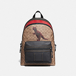 COACH 75597 Academy Backpack In Signature Canvas With Rexy By Sui Jianguo KHAKI/BLACK COPPER