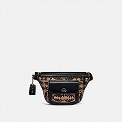 COACH 75603 Riley Belt Bag In Signature Canvas With Rexy By Guang Yu KHAKI/BLACK COPPER FINISH