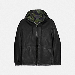 REVERSIBLE HOODED LEATHER TRAINER - 75832 - BLACK