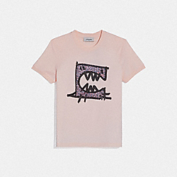COACH 75887 Rexy By Guang Yu Short Sleeve T-shirt BLUSH PINK