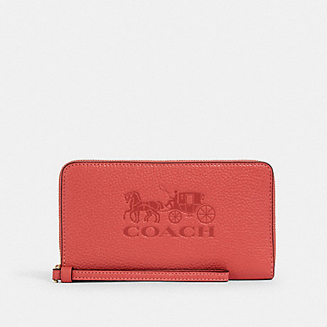 COACH 75908 JES LARGE PHONE WALLET IM/BRIGHT CORAL