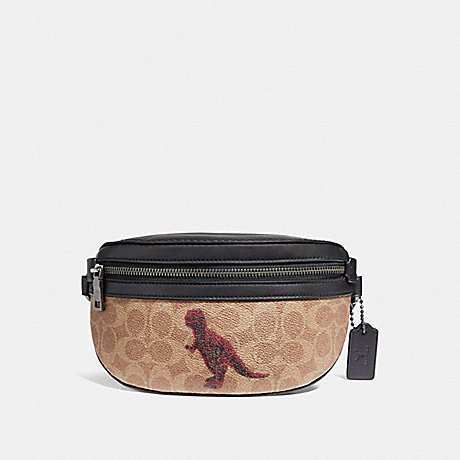COACH 76001 BELT BAG IN SIGNATURE CANVAS WITH REXY BY SUI JIANGUO V5/TAN-BLACK