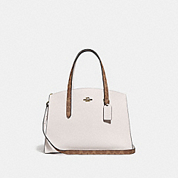 COACH 76073 Charlie Carryall With Signature Canvas Blocking B4/TAN CHALK