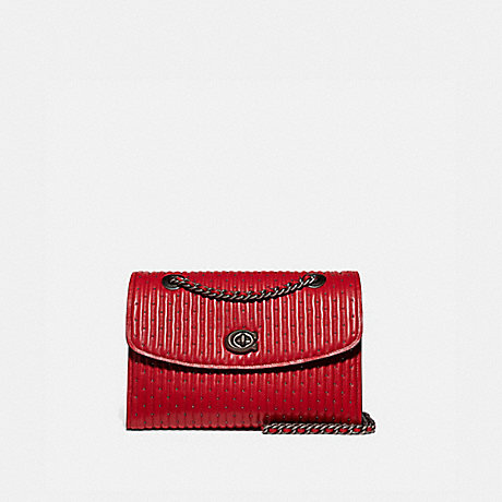 COACH PARKER WITH QUILTING AND RIVETS - RED APPLE/PEWTER - 76081