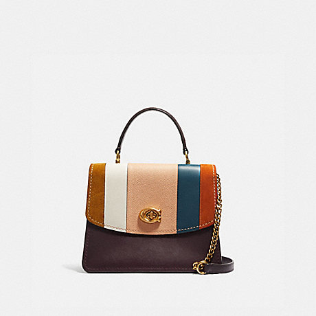 COACH 76084 PARKER TOP HANDLE WITH PATCHWORK STRIPES OXBLOOD-MULTI/BRASS