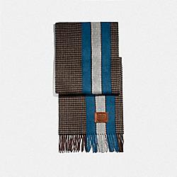 COACH 76095 Varsity Stripe Gingham Check Print Muffler VINTAGE MOSS DENIM