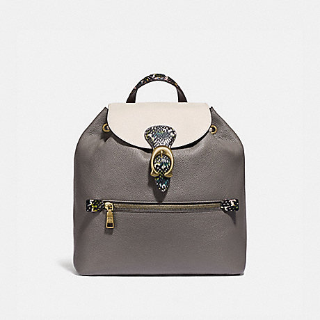 COACH 76107 EVIE BACKPACK IN COLORBLOCK WITH SNAKESKIN DETAIL HEATHER-GREY-MULTI/BRASS