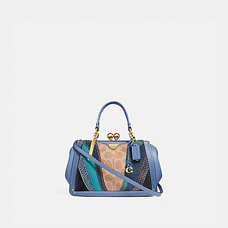 COACH 76115 KISSLOCK DREAMER 21 IN SIGNATURE CANVAS WITH WAVE PATCHWORK AND SNAKESKIN DETAIL TAN/WASHED-CHAMBRAY/BRASS
