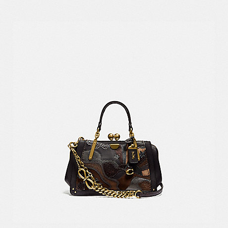 COACH 76117 KISSLOCK DREAMER 21 IN SIGNATURE CANVAS WITH STARSCAPE PATCHWORK AND SNAKESKIN DETAIL TAN-BLACK/BRASS