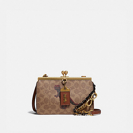 COACH 76121 DOUBLE FRAME BAG 19 IN SIGNATURE CANVAS WITH REXY BY SUI JIANGUO B4/TAN-1941-SADDLE