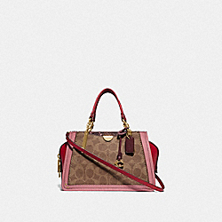 COACH 76127 - DREAMER 21 IN SIGNATURE CANVAS WITH SNAKESKIN DETAIL GD/TAN LIGHT RASPBERRY