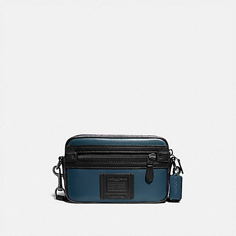 COACH 76165 ACADEMY CROSSBODY WITH SIGNATURE CANVAS BLOCKING MIDNIGHT NAVY/CHARCOAL/BLACK COPPER