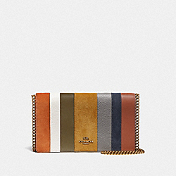 COACH 76168 Callie Foldover Chain Clutch With Patchwork Stripes OXBLOOD MULTI/BRASS