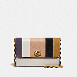 MARLOW TURNLOCK CHAIN CROSSBODY WITH PATCHWORK STRIPES - 76169 - BRASS/BEECHWOOD MULTI