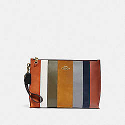 COACH 76184 Large Charlie Pouch With Patchwork Stripes OXBLOOD MULTI/BRASS