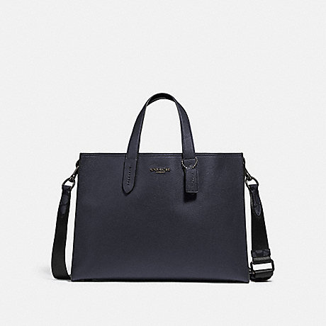 COACH 76201 CHARLIE BRIEF WITH SIGNATURE CANVAS BLOCKING JI/MIDNIGHT NAVY/CHARCOAL