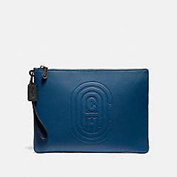 COACH 76233 - POUCH 30 WITH COACH PATCH TRUE BLUE