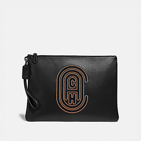 COACH 76244 POUCH 30 WITH COACH PATCH BLACK