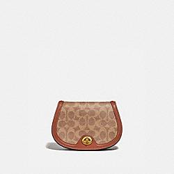 COACH 76264 Saddle Belt Bag In Colorblock Signature Canvas TAN/RUST/BRASS