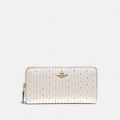COACH ACCORDION ZIP WALLET WITH QUILTING AND RIVETS - B4/CHALK - 76273