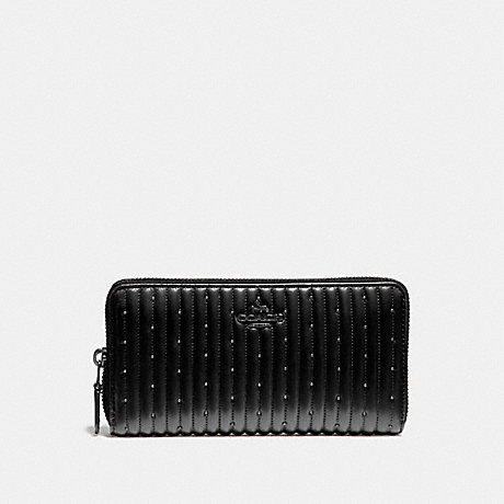 COACH ACCORDION ZIP WALLET WITH QUILTING AND RIVETS - V5/BLACK - 76273
