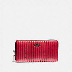 COACH 76273 Accordion Zip Wallet With Quilting And Rivets V5/RED APPLE