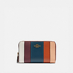 COACH 76294 - MEDIUM ZIP AROUND WALLET WITH PATCHWORK STRIPES OXBLOOD MULTI/BRASS
