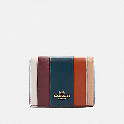 COACH 76295 Small Snap Wallet With Patchwork Stripes OXBLOOD MULTI/BRASS