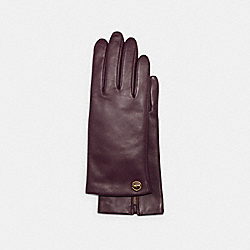 COACH 76310 - HORSE AND CARRIAGE PLAQUE LEATHER TECH GLOVES DEEP BERRY