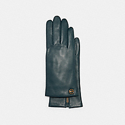COACH 76310 - HORSE AND CARRIAGE PLAQUE LEATHER TECH GLOVES TEAL