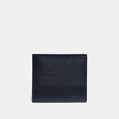 COACH 76311 DOUBLE BILLFOLD WALLET WITH SIGNATURE CANVAS BLOCKING MIDNIGHT/CHARCOAL