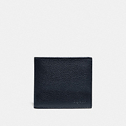 DOUBLE BILLFOLD WALLET WITH SIGNATURE CANVAS BLOCKING - MIDNIGHT/CHARCOAL - COACH 76311