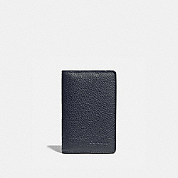COACH 76313 - CARD WALLET WITH SIGNATURE CANVAS BLOCKING MIDNIGHT/CHARCOAL