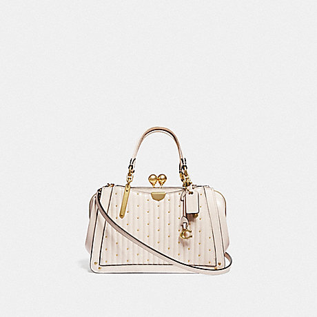 COACH 76347 KISSLOCK DREAMER 21 WITH QUILTING AND RIVETS CHALK/BRASS
