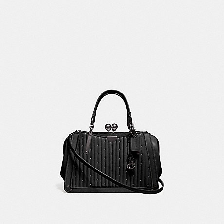 COACH 76347 KISSLOCK DREAMER 21 WITH QUILTING AND RIVETS BLACK/PEWTER