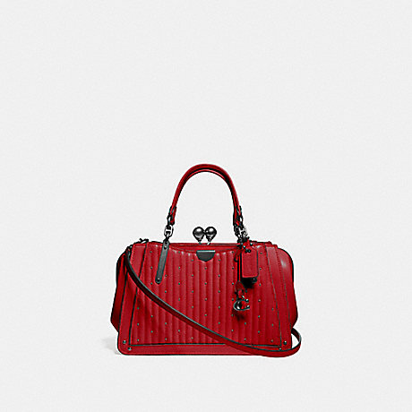 COACH 76347 KISSLOCK DREAMER 21 WITH QUILTING AND RIVETS RED-APPLE/PEWTER