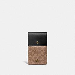 SNAP PHONE CROSSBODY IN SIGNATURE CANVAS - 76357 - B4/TAN BLACK