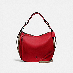 COACH 76361 Sutton Hobo With Signature Canvas Blocking PEWTER/TAN RED APPLE