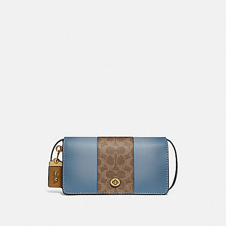 COACH 76368 DINKY WITH SIGNATURE CANVAS BLOCKING BRASS/TAN-MIST