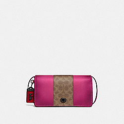 COACH 76368 Dinky With Signature Canvas Blocking V5/TAN BRIGHT PINK