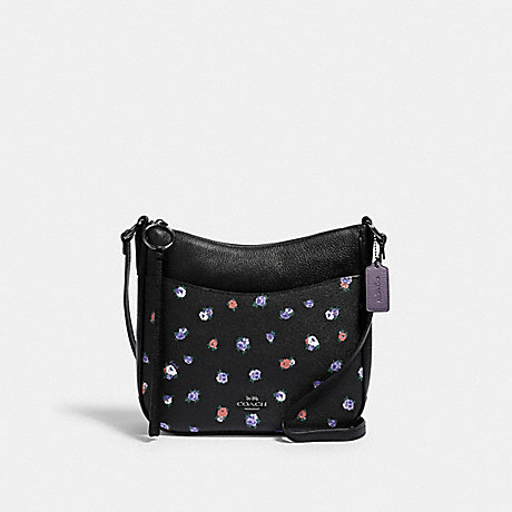COACH CHAISE CROSSBODY WITH VINTAGE ROSE PRINT - GM/BLACK MULTI - 76381