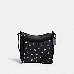CHAISE CROSSBODY WITH VINTAGE ROSE PRINT - 76381 - GM/BLACK MULTI