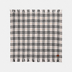 COACH 76398 Plaid Print Blanket Scarf CHALK