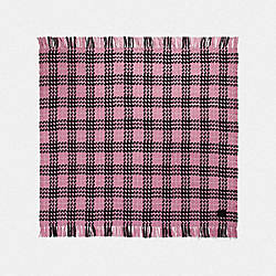 COACH 76398 Plaid Print Blanket Scarf LIGHT RASPBERRY