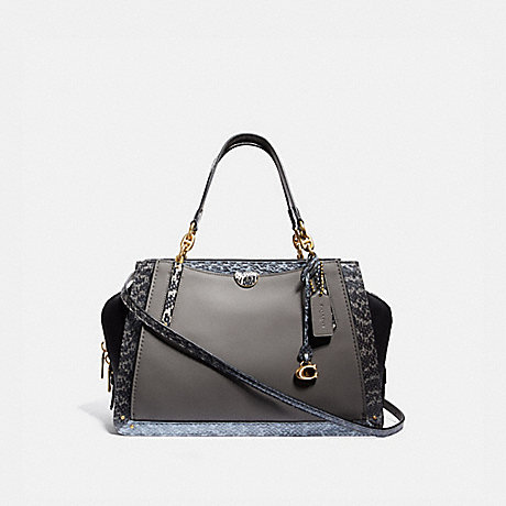 COACH 76459 DREAMER 36 IN COLORBLOCK WITH SNAKESKIN DETAIL B4/HEATHER-GREY-MULTI