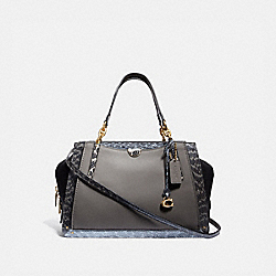 COACH 76459 - DREAMER 36 IN COLORBLOCK WITH SNAKESKIN DETAIL B4/HEATHER GREY MULTI