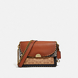 COACH 76498 - DREAMER SHOULDER BAG IN SIGNATURE CANVAS WITH SNAKESKIN DETAIL BEIGE